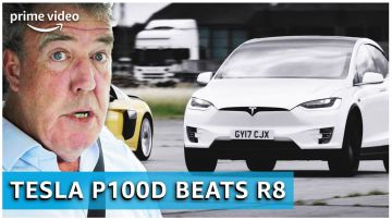 Video jeremy clarkson guida una tesla model x contro un'audi r8 per the grand tour