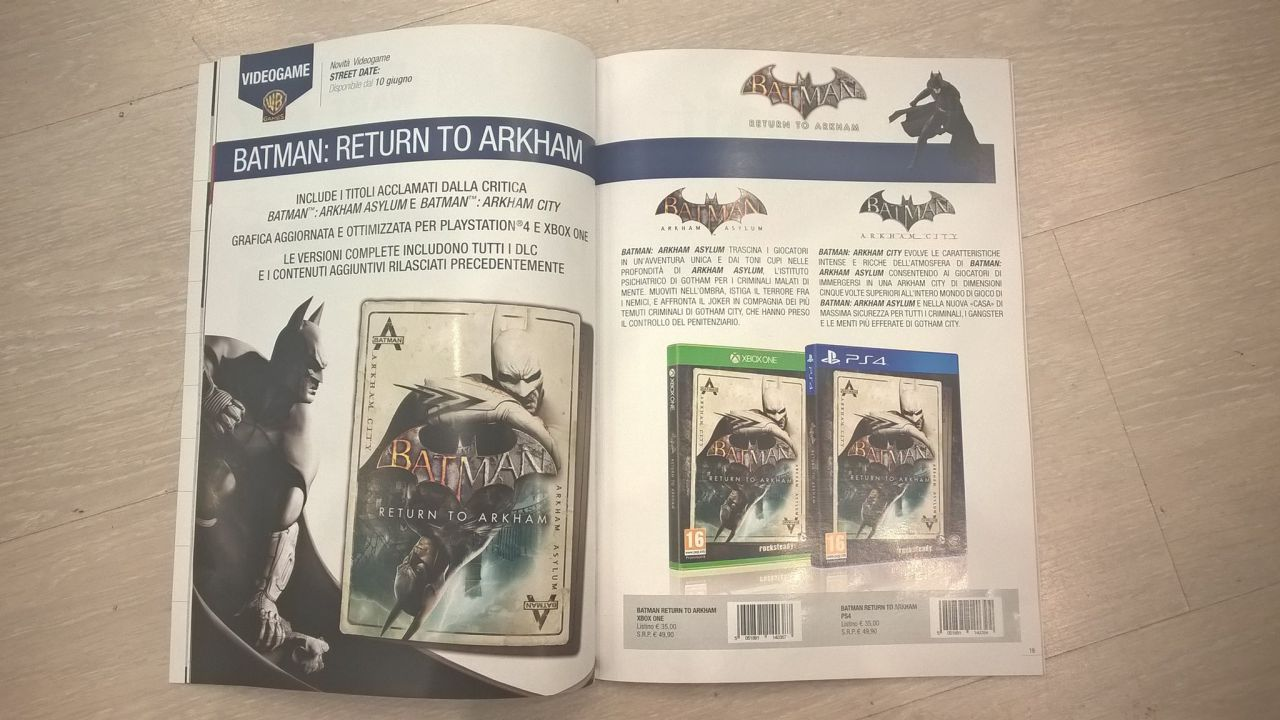 Batman Return To Arkham compare su un catalogo italiano
