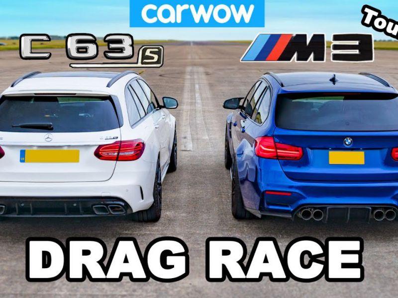 BMW M3 custom contro Mercedes-AMG C63 S: scontro tra station wagon sul quarto di miglio