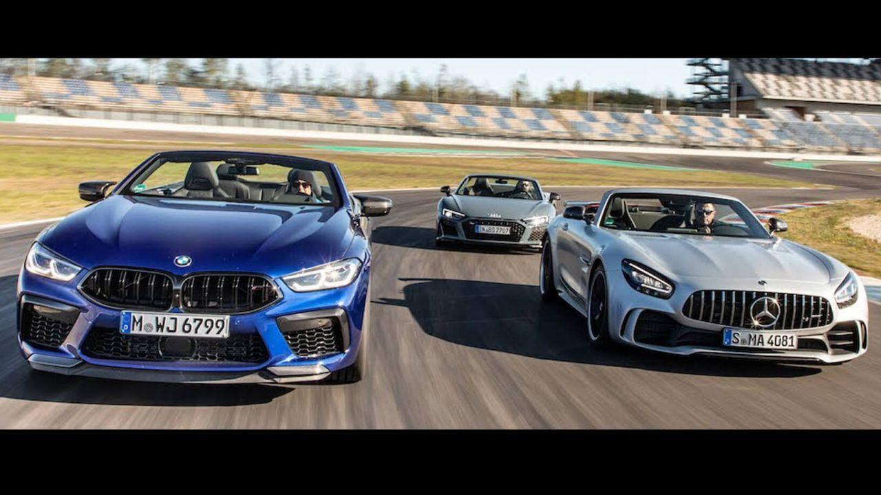 BMW M8 Competition contro Mercedes-AMG GT R e Audi R8 in pista