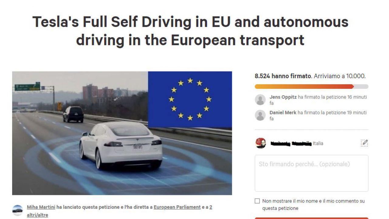 C'è una petizione per non limitare l'Autopilot di Tesla in Europa