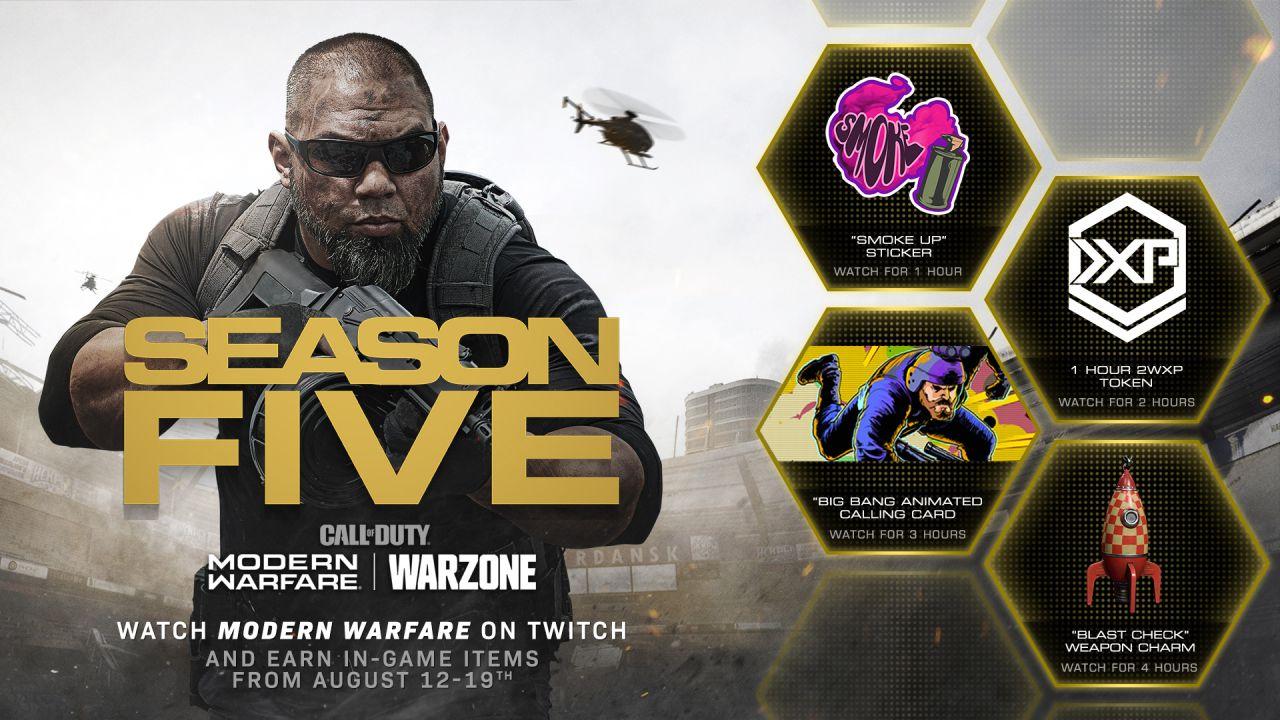 COD Warzone e Modern Warfare: come ottenere gratis i Twitch Drops della Stagione 5