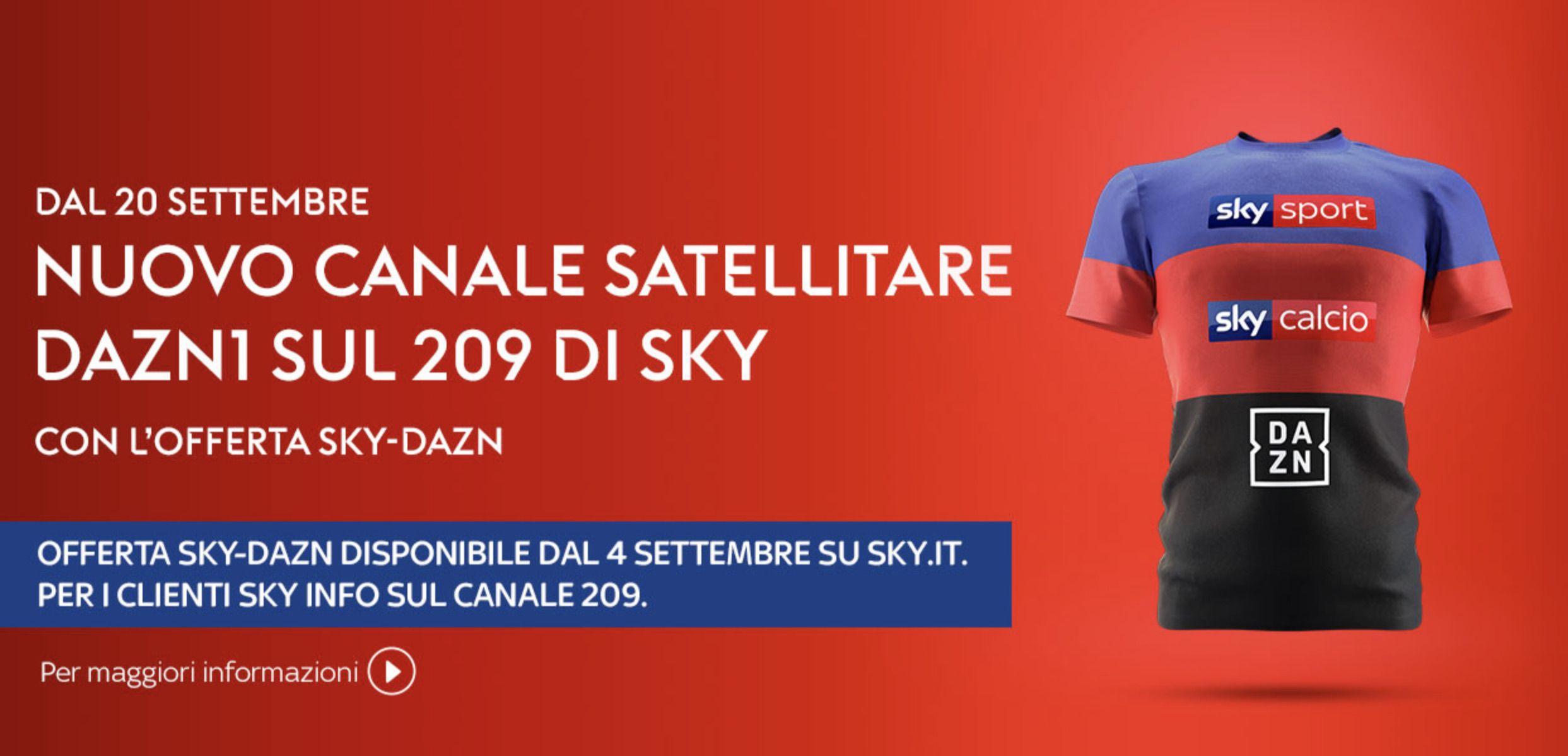 DAZN arriva su Sky via satellite il 20 Settembre gratis per gli abbonati  più fedeli
