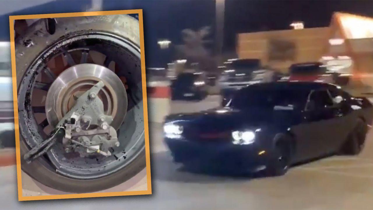 Dodge Challenger supera i 110 km/h in un parcheggio e finisce molto male