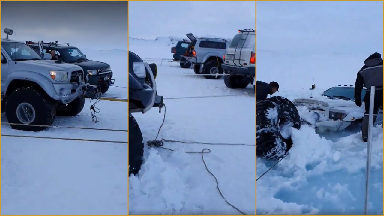 Dodge Ram affondata nel ghiaccio, il recupero del mezzo è geniale