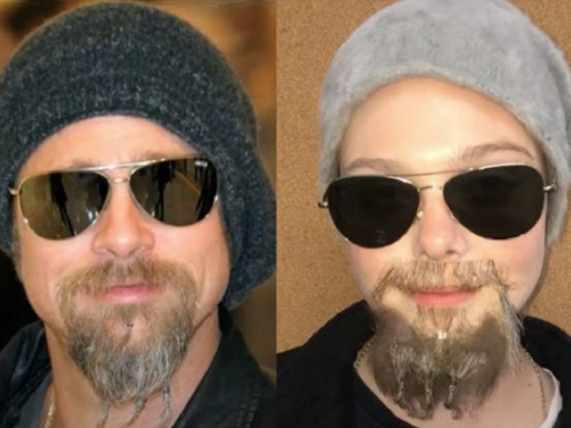 Elle Fanning come Brad Pitt: impazza in rete la Doppleganger Challenge