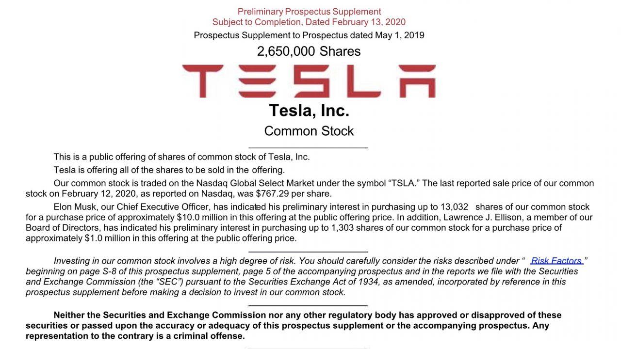 Elon Musk cambia idea e lancia un'offerta da oltre 2 milioni di azioni Tesla