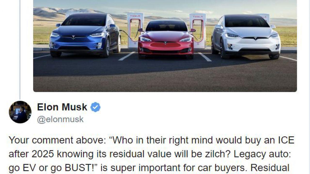 Elon Musk: 'Il valore delle vostre auto a benzina crollerà presto'