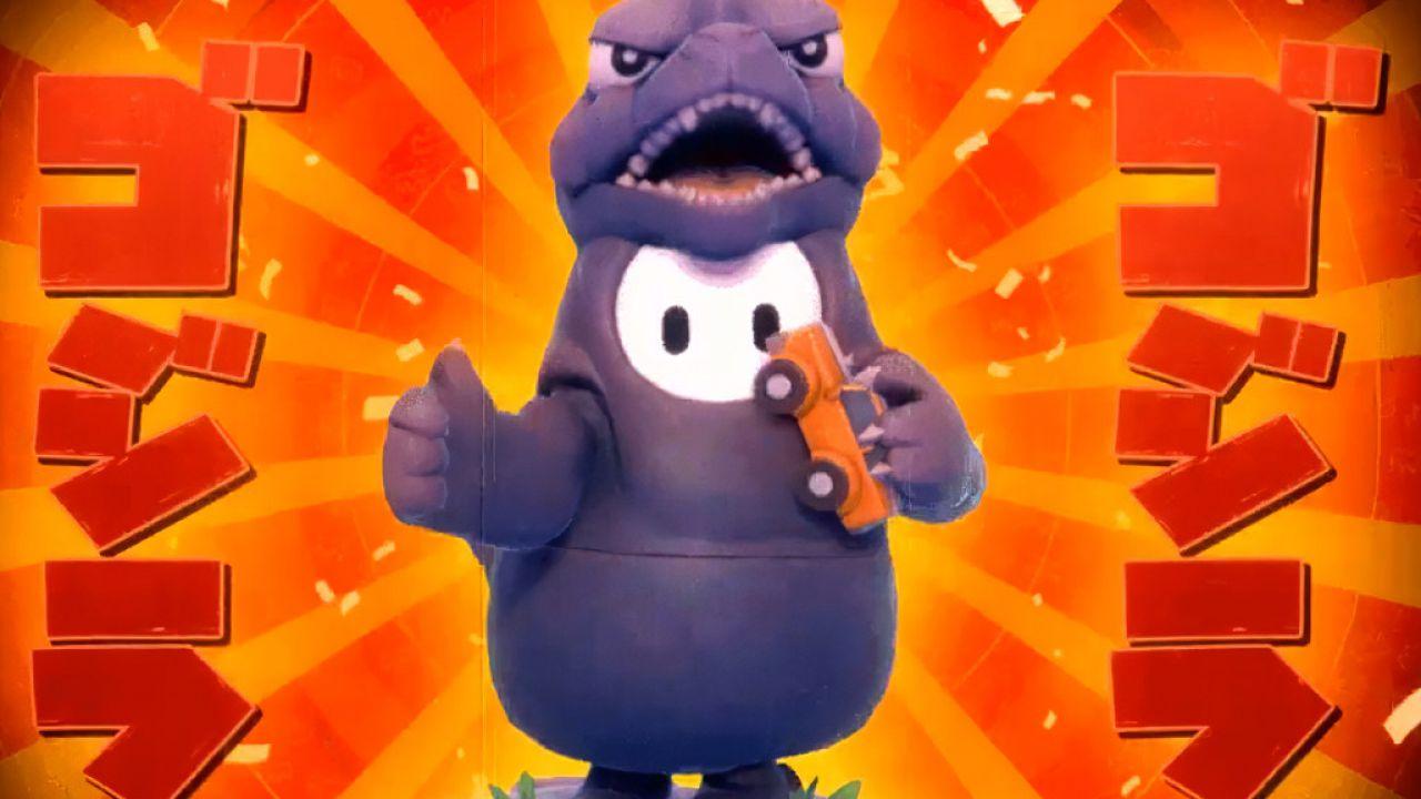 Fall Guys: le caramelline diventano mostri Kaiju con il costume di Godzilla