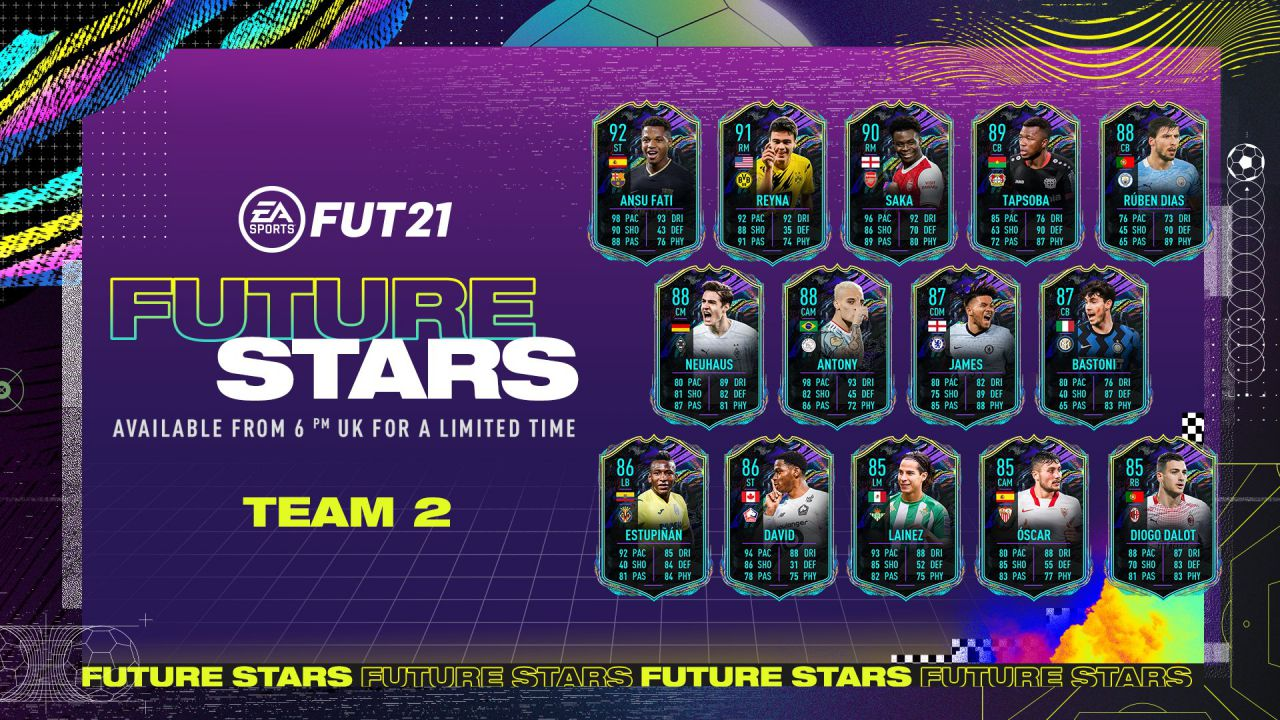 FIFA 21 Future Stars: svelato il Team 2 delle Stelle del Futuro di FUT 21