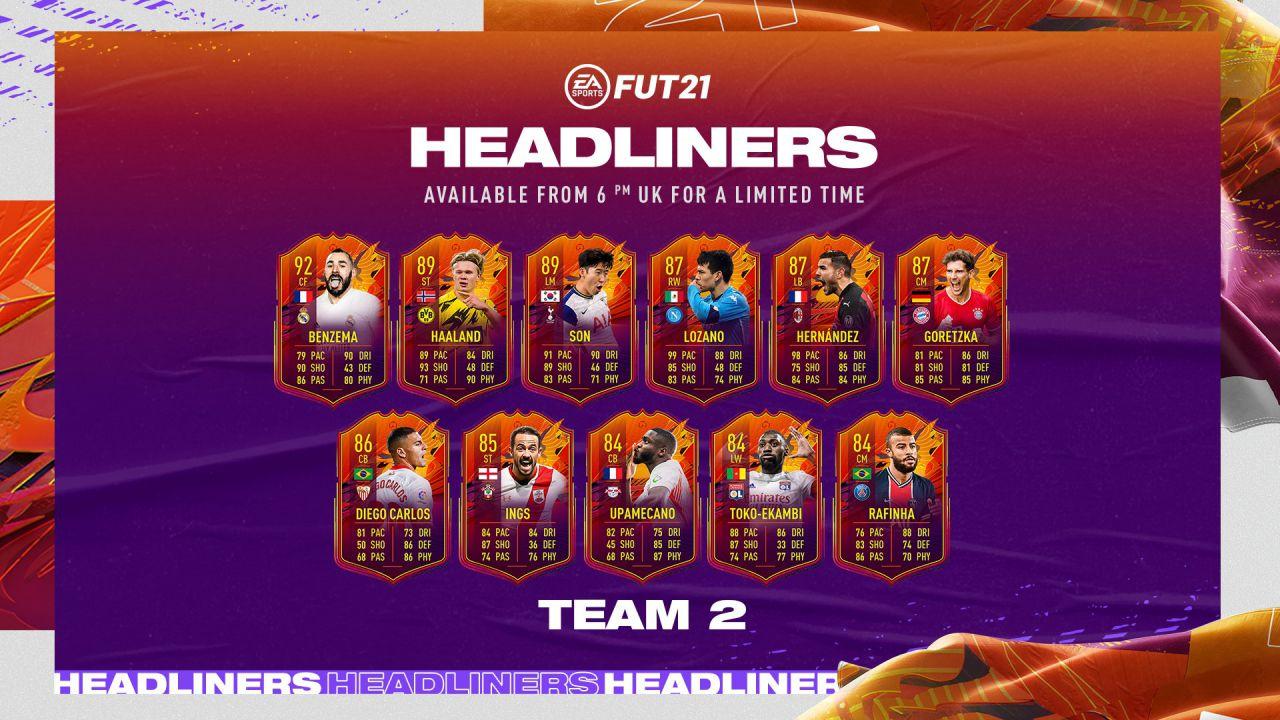 FIFA 21 Headliners: il Team 2 è ora disponibile nei pacchetti