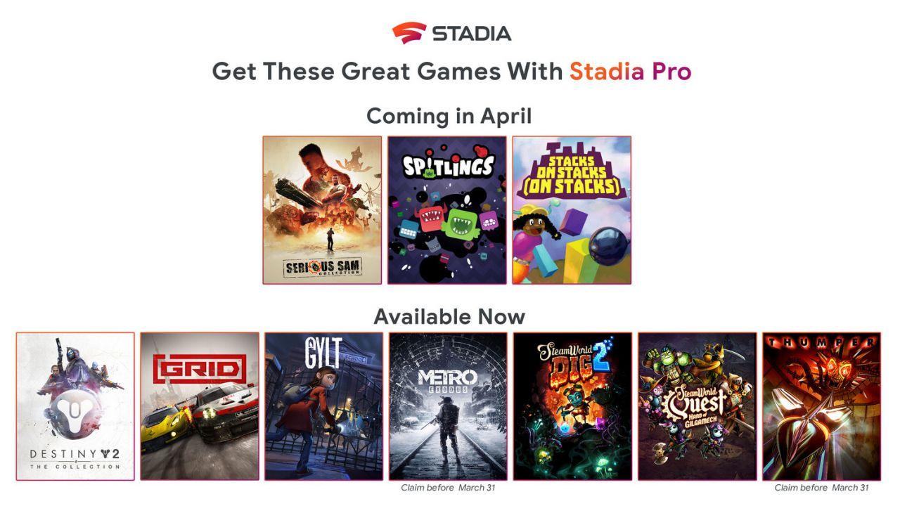 Google Stadia: annunciati i giochi gratis di aprile per gli abbonati a Stadia Pro