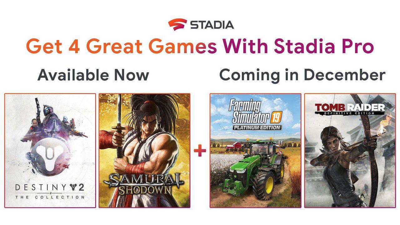 Google Stadia: sono ora disponibili i giochi gratis di dicembre 2019