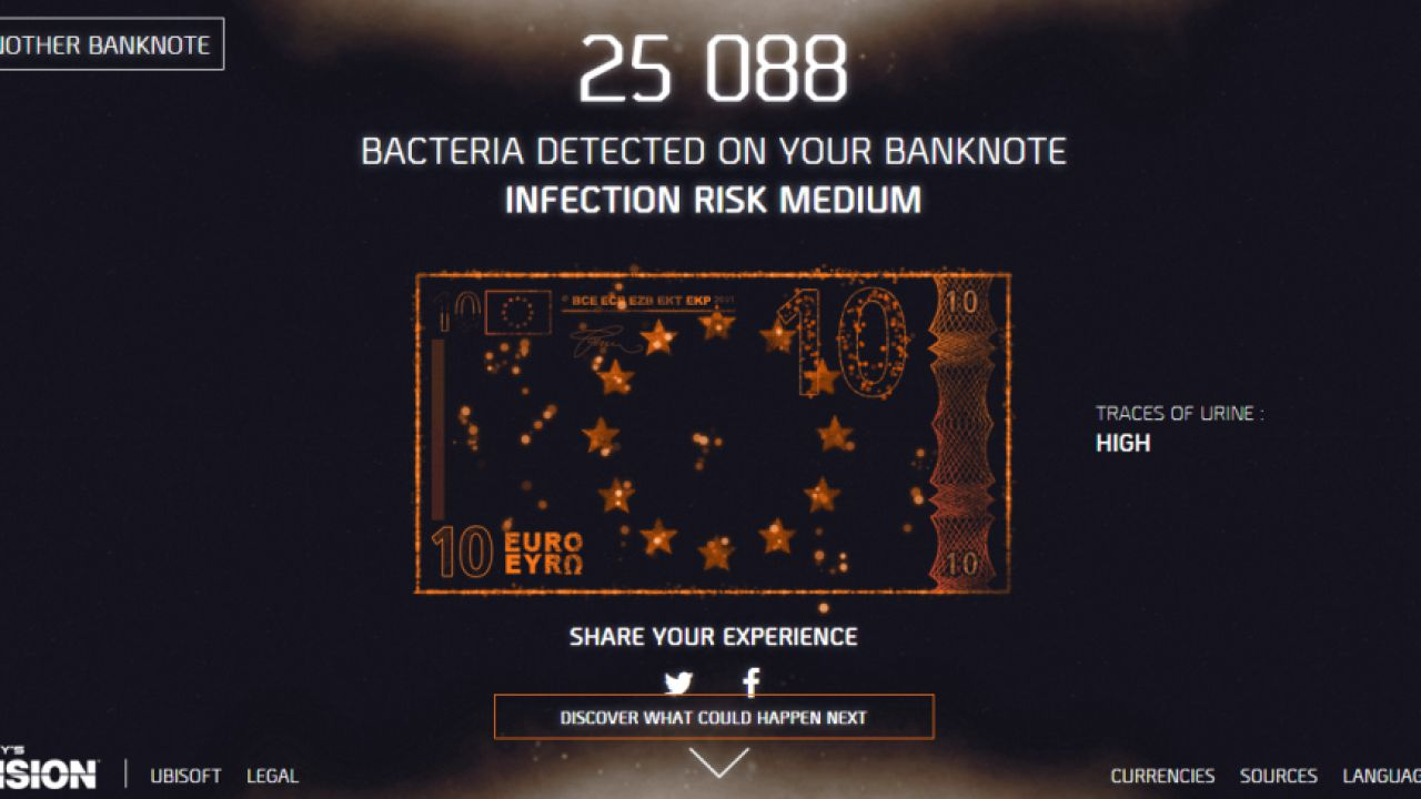 Grazie a The Division potete scoprire la quantità di batteri presente sulle vostre banconote