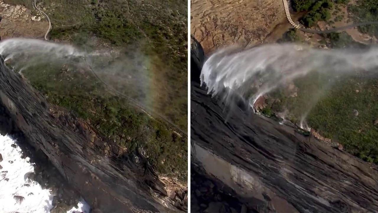 Guardate questa cascata scorrere al contrario e sfidare la gravità