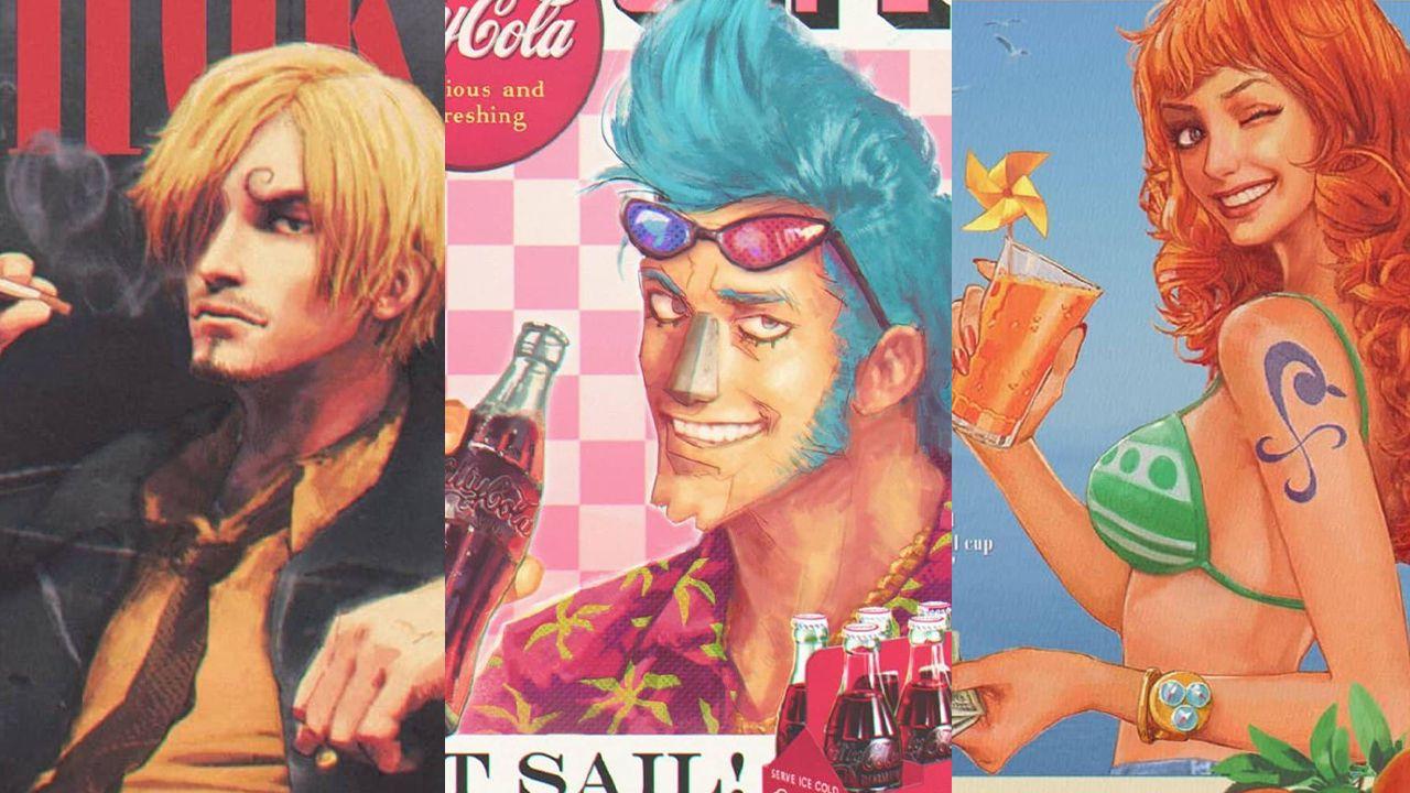 I protagonisti di ONE PIECE diventano poster vintage: le eccezionali fanart di Vinu
