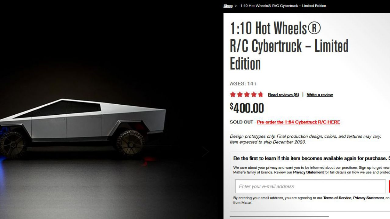 Il Cybertruck della Hot Wheels è andato sold out in 5 ore