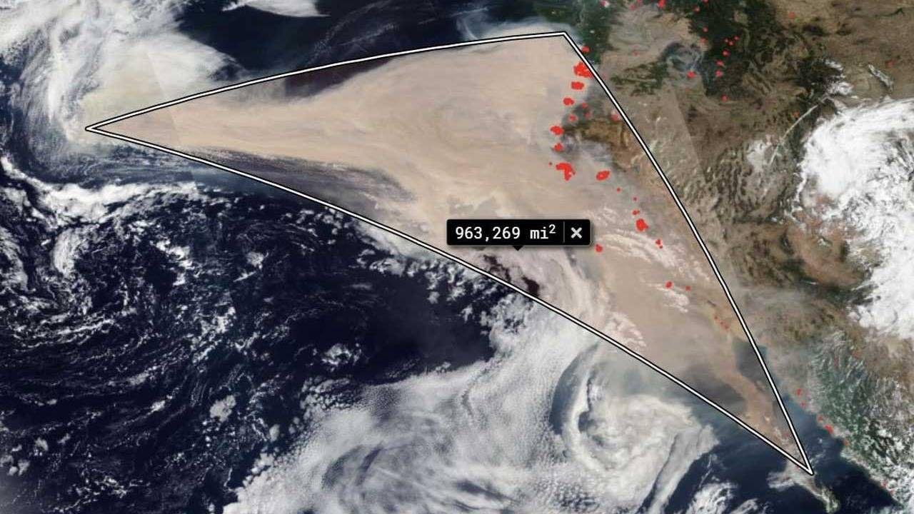 Il fumo degli incendi della California copre una superficie 8 volte più grande dell'Italia