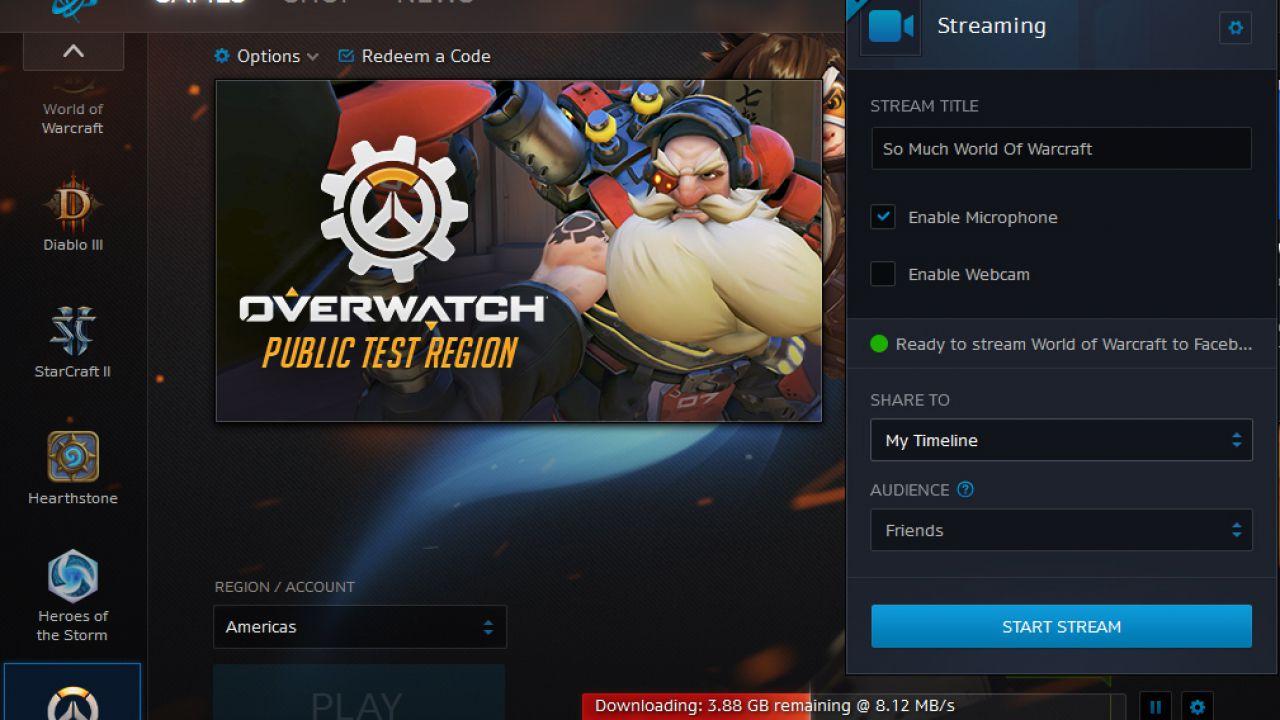 Il nuovo aggiornamento di Battle.net permette di fare streaming su Facebook