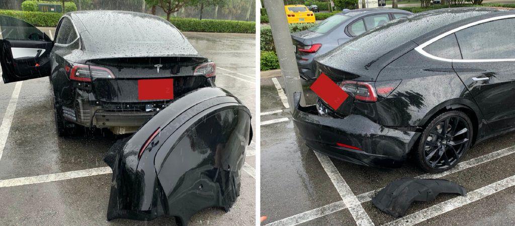 Il paraurti della Tesla Model 3 si stacca da solo in caso di pioggia battente
