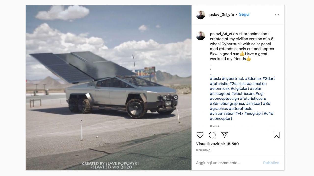 Il Tesla Cybertruck alimentato a energia solare con pannelli meccanici: il concept