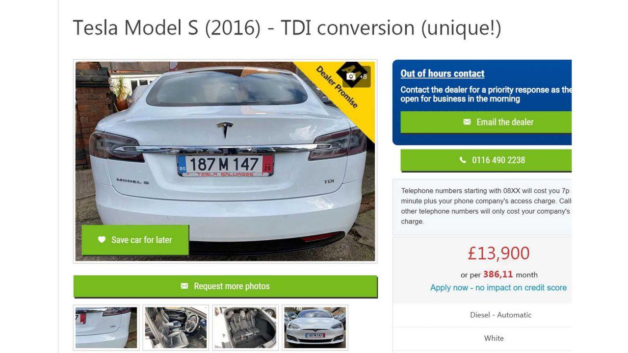 In vendita una Tesla Model S diesel con motore TDI Volkswagen: lo scherzo dell'anno