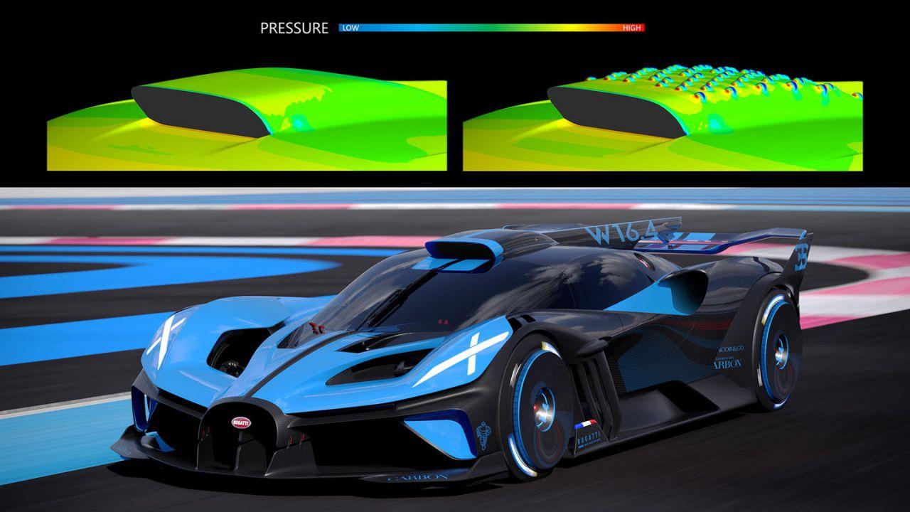 L'assurda aerodinamica del Bugatti Bolide trae ispirazione delle palline da golf