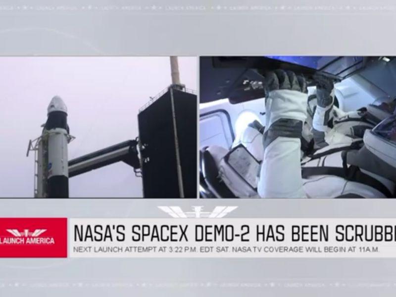 La celebre missione SpaceX  che doveva passare alla storia.. rinviata a causa del maltempo