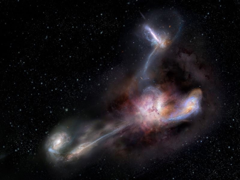 La galassia più luminosa mai scoperta: Eccola mentre sta assorbendo altre galassie