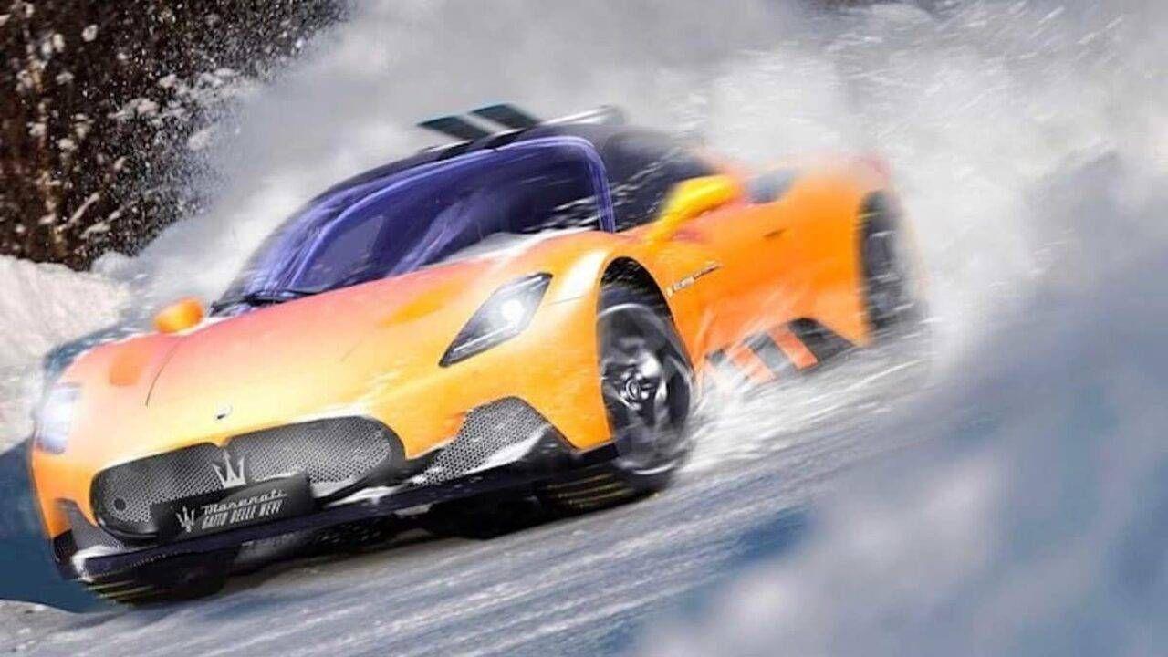 La nuova Maserati MC20 è alle prese con la neve virtuale