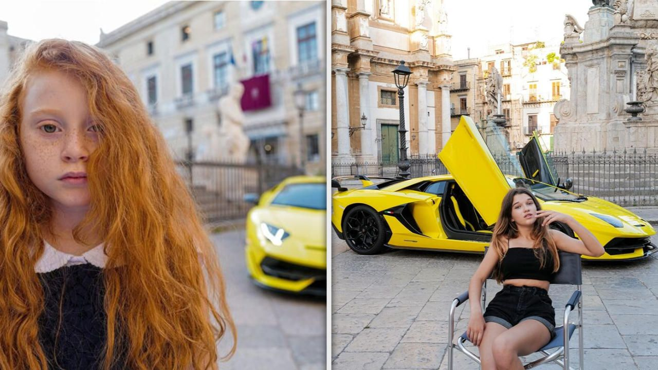Lamborghini con le bambine a Palermo