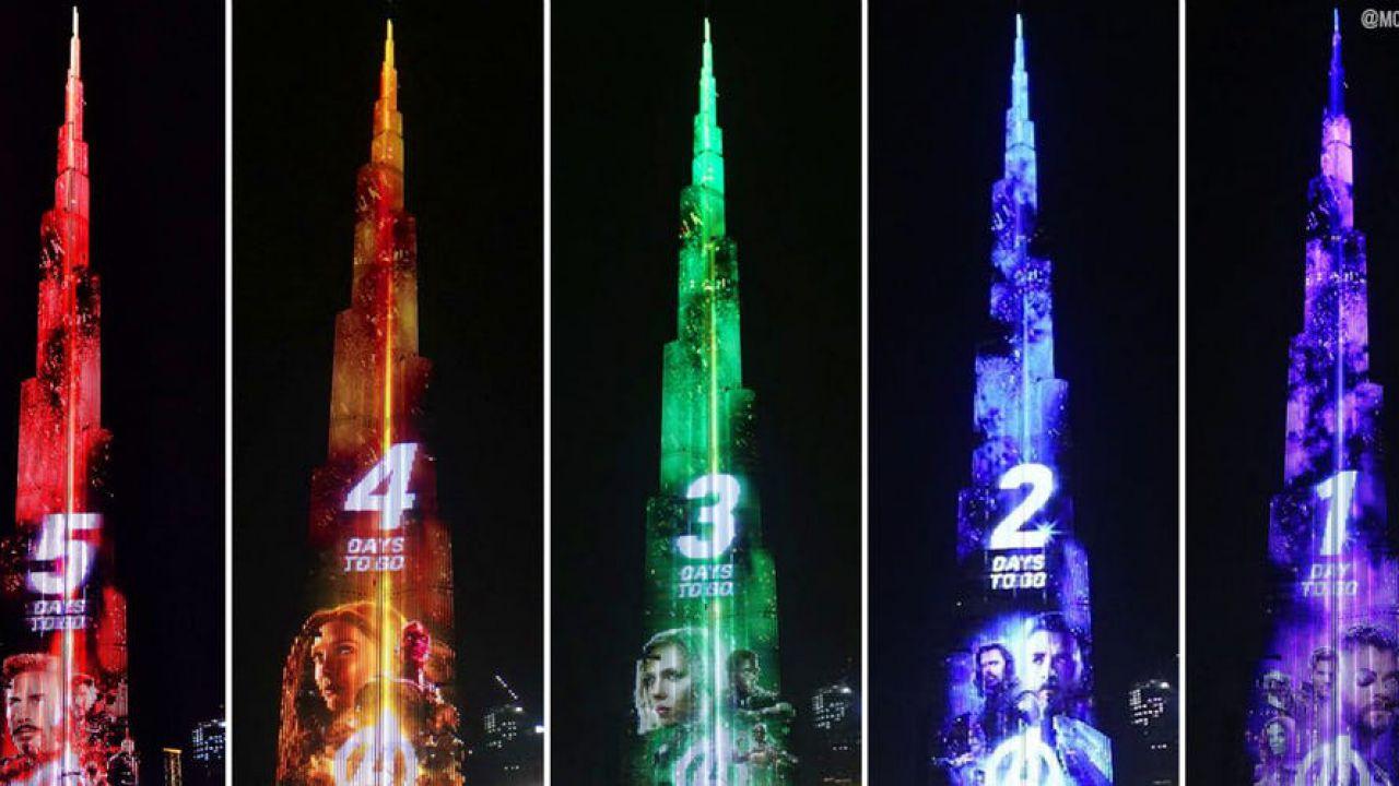 Lo spettacolare countdown di dubai per infinity war dal for Grattacielo piu alto del mondo
