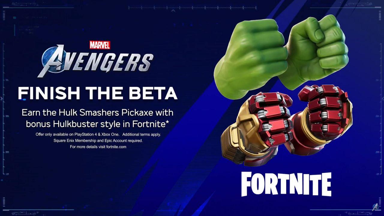 Marvel's Avengers X Fortnite: piccone Hulk Smashers gratis completando la Beta