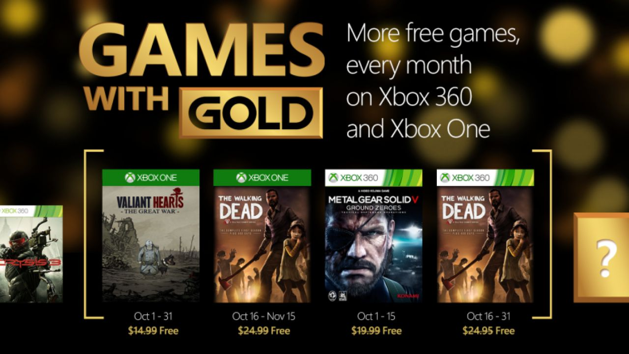 Metal Gear Solid 5: Ground Zeroes e The Walking Dead tra i Games with Gold di ottobre