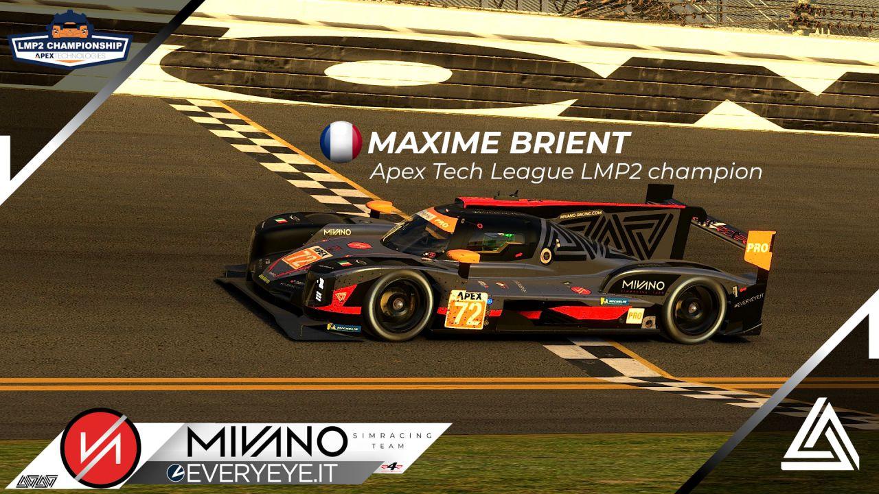 Mivano Simracing Team trionfa e vince il campionato Apex Technologies LMP2 Championship