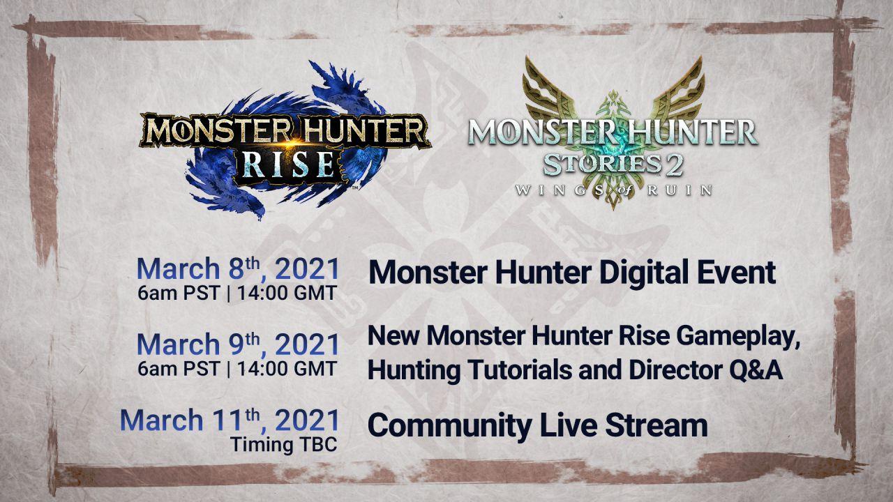 Monster Hunter Rise e MH Stories 2: annunciati tre Digital Event a marzo