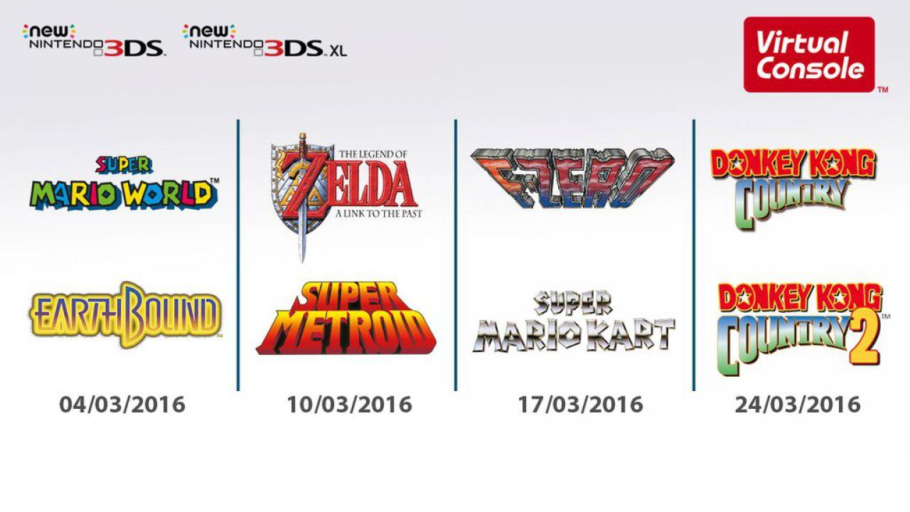 New Nintendo 3DS: i titoli Super Nintendo in arrivo tramite Virtual Console