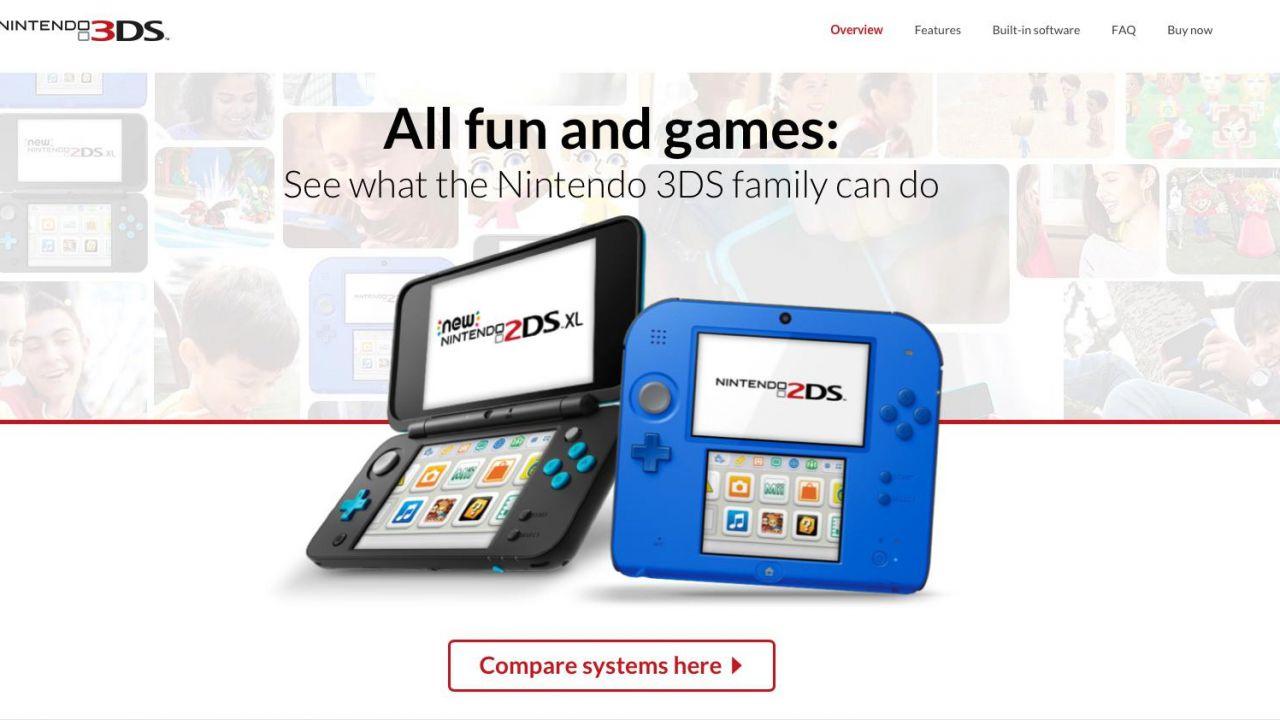 Nintendo 3DS sparisce dal sito di Nintendo USA: pubblicizzata solo la linea 2DS