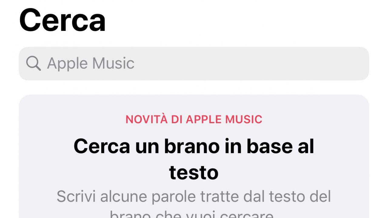 Novità per Apple Music: ora è possibile cercare un brano in base al testo