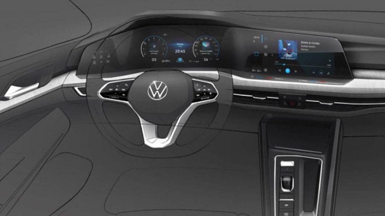 Nuova Volkswagen Golf 8: prima foto spia della plancia, tutta digitale