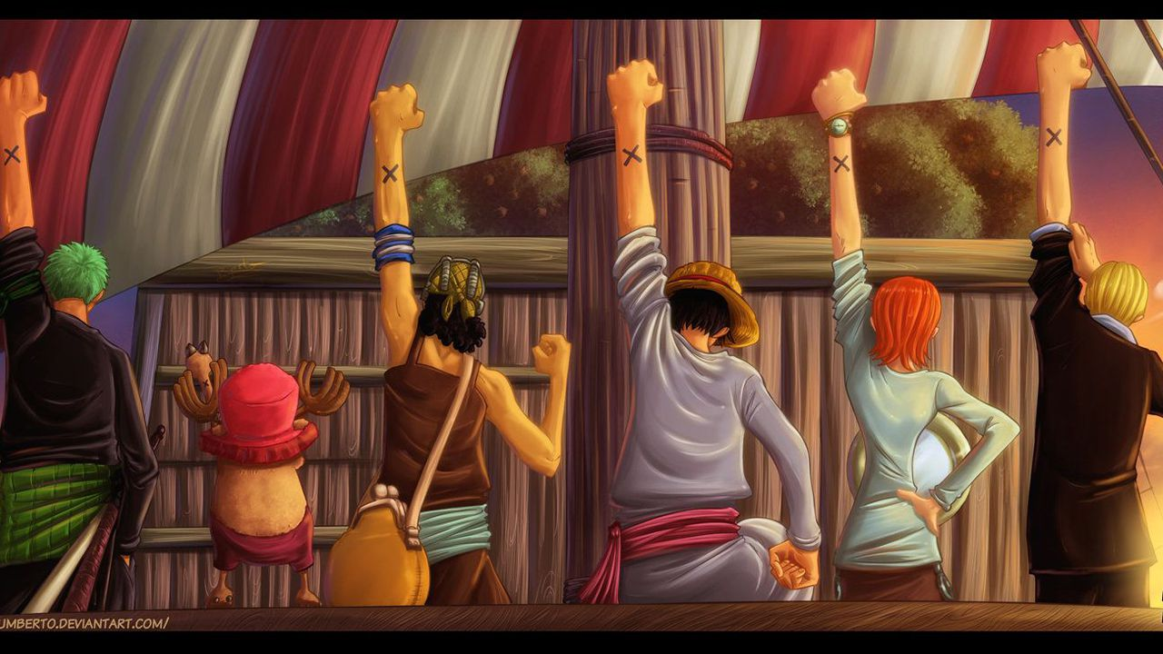ONE PIECE: il saluto ad Alabasta con la ciurma al completo, una fanart ce lo mostra