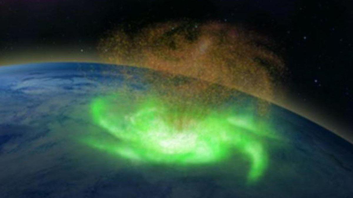 """Per la prima volta abbiamo osservato un """"uragano spaziale"""" sopra il Polo Nord"""