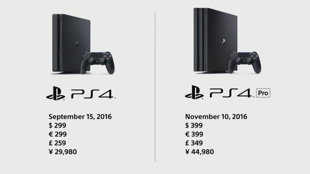 PlayStation 4 Pro e PlayStation 4 Slim: prezzi e date di uscita