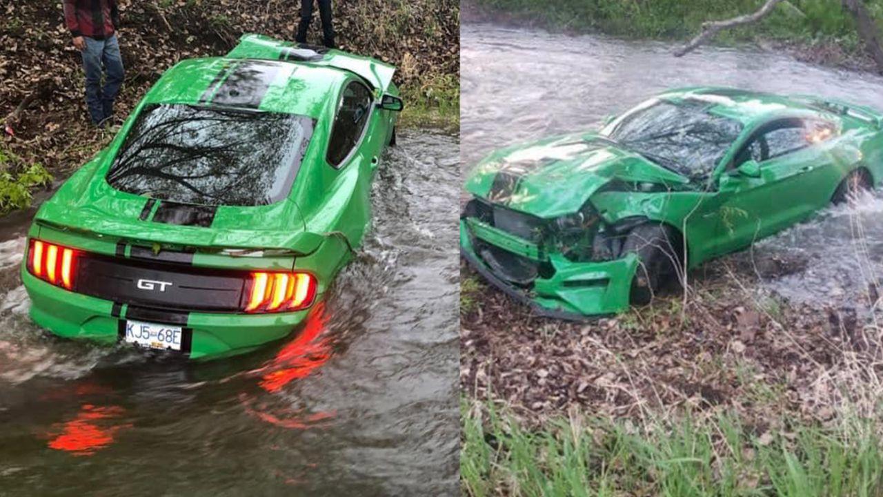 Ragazzo si vanta con la Mustang nuova di zecca, ma finisce dritto nel fiume
