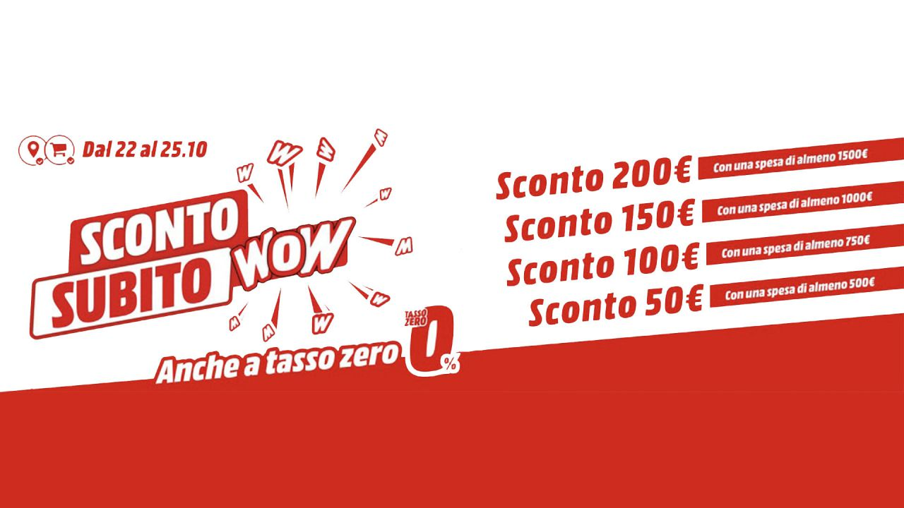 Sconto Subito Wow in cassa da Mediaworld: monopattini ed e-bike in offerta