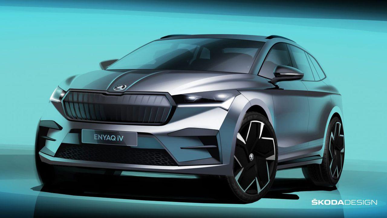 Skoda Enyaq iV: il futuro SUV elettrico svelato dagli sketch ufficiali