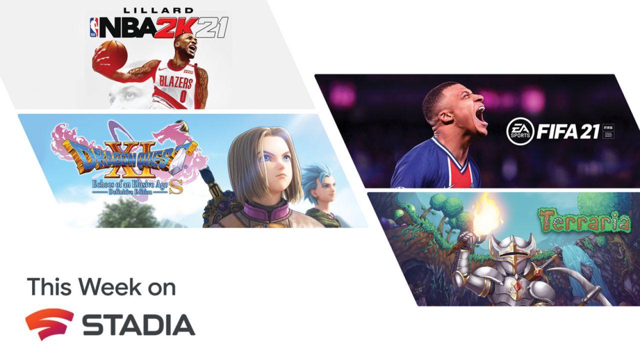 Stadia Nuovi Giochi: arrivano FIFA 21 e Dragon Quest 11; NBA 2K21 gratis per una settimana