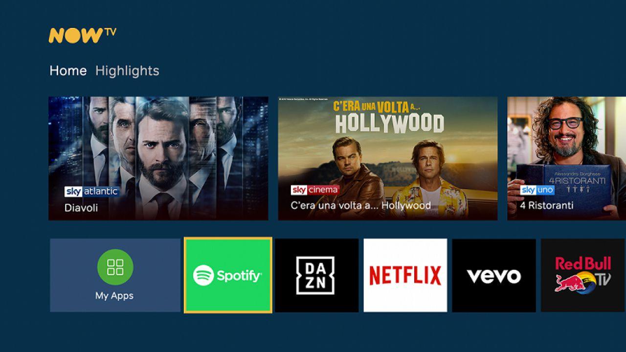 Tante novità per Now TV: arriva la nuova interfaccia, ma anche l'app di Spotify