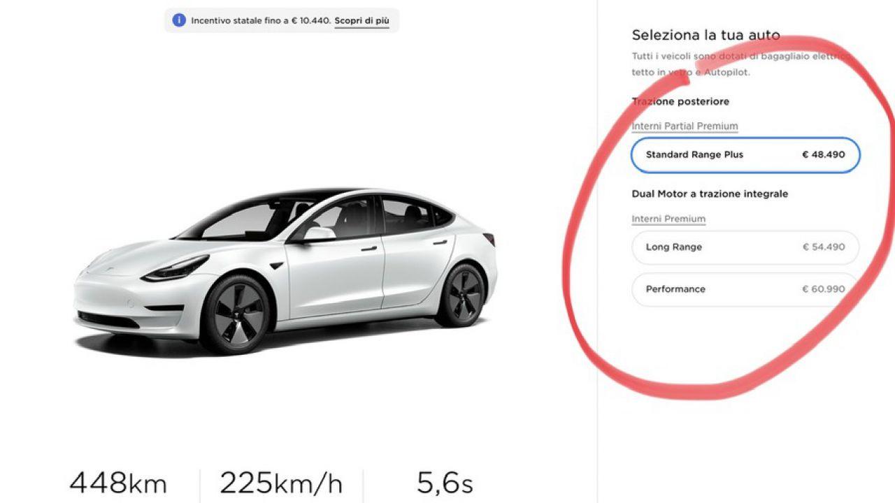 Tesla alza il prezzo italiano delle Model 3 Standard e Long Range: il nuovo listino