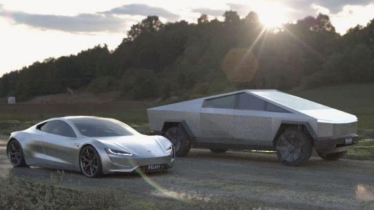Un Tesla Cybertruck Tri-motor contro una Roadster 2020: la gara simulata